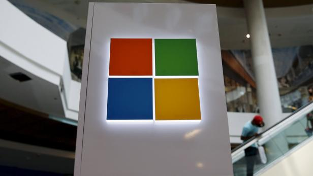 File photo of Microsoft logo at a pop-up site for the new Windows 10 operating system at Roosevelt Field in Garden City