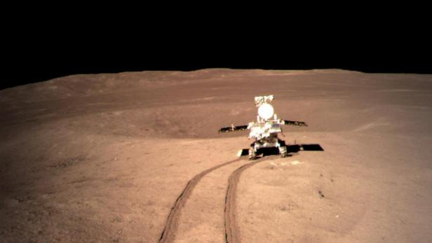 China's lunar roverYutu-2 or Jade Rabbit 2 rolling onto the far side of the moon taken by the Chang'e-4 lunar probe is seen in this image provided by China National Space Administration