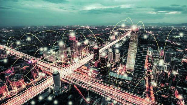 Aerial View of City Network of Beijing Skyline