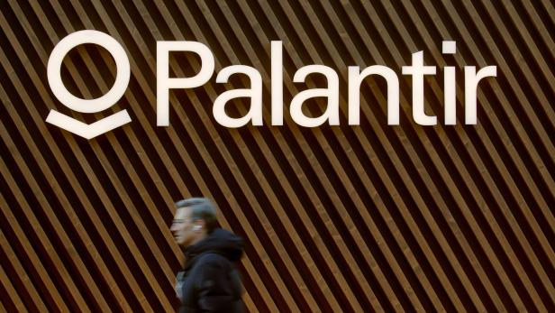 Logo of Palantir Technologies is seen in Davos