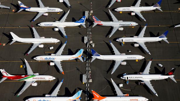 FILE PHOTO: Grounded Boeing 737 MAX aircraft are parked at Boeing Field in Seattle