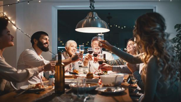 Family having dinner on Christmas eve.