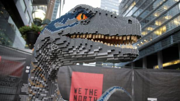A Raptor dinosaur made of Lego is shown in the Jurassic Park fan zone outside the arena where Game 5 of the NBA Finals between the Toronto Raptors and the Golden State Warriors will be played in Toronto