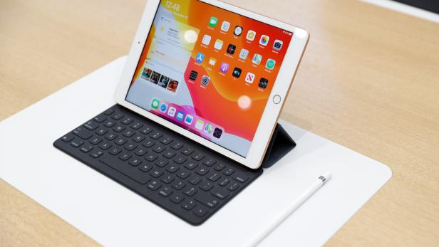 A new Apple iPad is seen in the demonstration room during a launch event at their headquarters in Cupertino