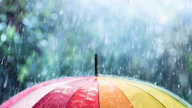 Rain On Rainbow Umbrella