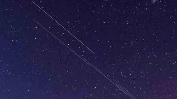 Starlink constellation visible in the sky