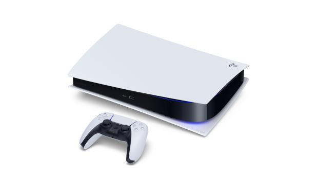 The Sony PlayStation 5 Digital Edition console and DualSense controller are seen in this undated handout image