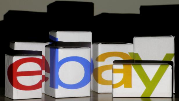 FILE PHOTO: An eBay logo is projected onto white boxes in this illustration picture taken in Warsaw