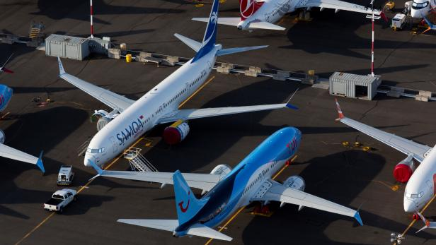 Boeing 737 Max aircraft are parked in a parking lot at Boeing Field in this aerial photo over Seattle