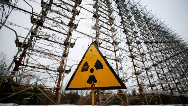 """Constructions of a former Soviet Union over-the-horizon radar system """"Duga"""" are seen near the Chernobyl Nuclear Power Plant, near Chernobyl"""