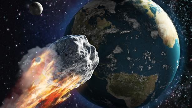 Burning asteroid moving through the Earth