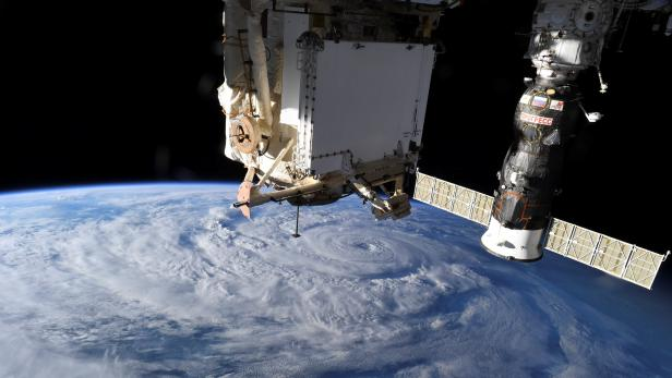 Hurricane Genevieve is seen from the International Space Station (ISS) orbiting Earth