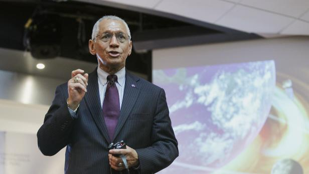 NASA administrator Charles Bolden speaks during a presentation to students about NASA's exploration plans in our solar system and on the planet Mars, at a local university in Lima