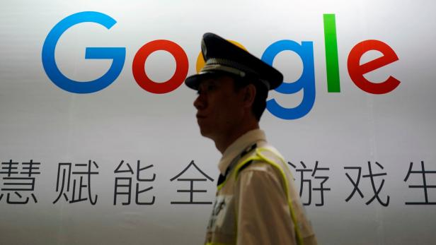 FILE PHOTO: A Google sign is seen during the China Digital Entertainment Expo and Conference (ChinaJoy) in Shanghai