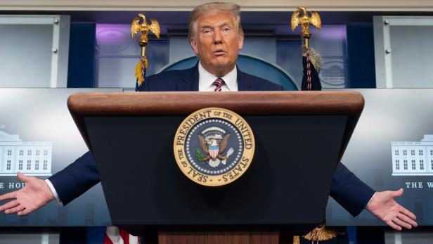 President Trump holds a news briefing at the White House