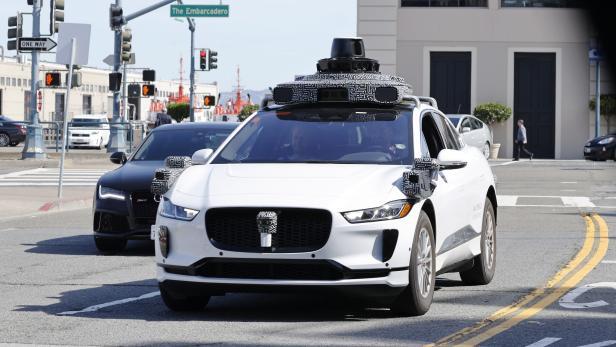 Waymo Jaguar electric self-driving vehicle on San Francisco street