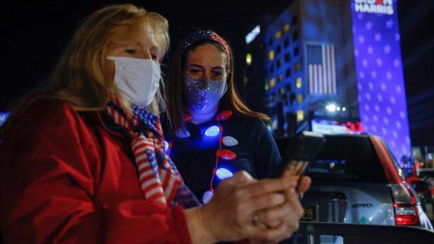 Democratic presidential nominee Joe Biden holds his 2020 U.S. presidential election night rally in Wilmington, Delaware