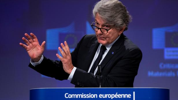 FILE PHOTO: European Union Internal Market Commissioner Thierry Breton talks to journalists during an online news conference at the EU headquarters in Brussels