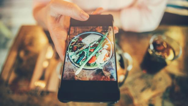 Taking a photo of food