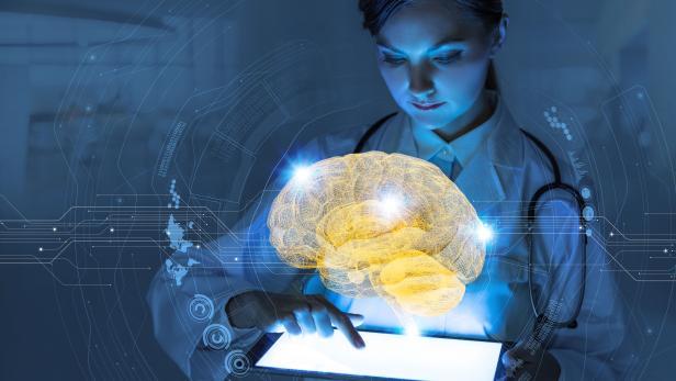 AI(Artificial Intelligence) concept. 3D rendering brain.