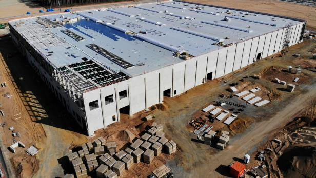 FILE PHOTO: The construction site of the future Tesla Gigafactory in Gruenheide