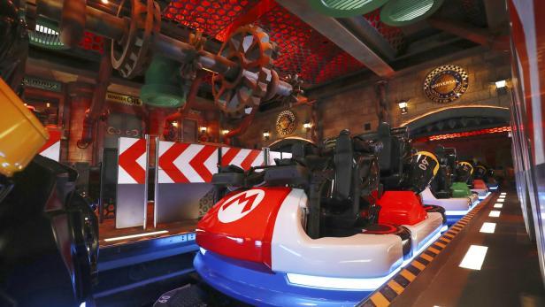 General view shows Mario Kart Station at Super Nintendo World at the Universal Studios Japan theme park in Osaka, western Japan