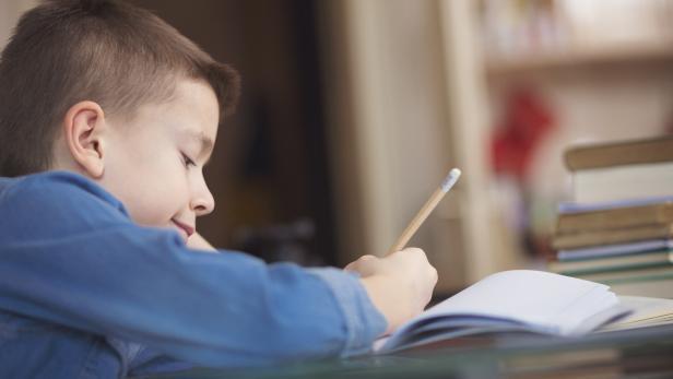 Cute boy doing his homework