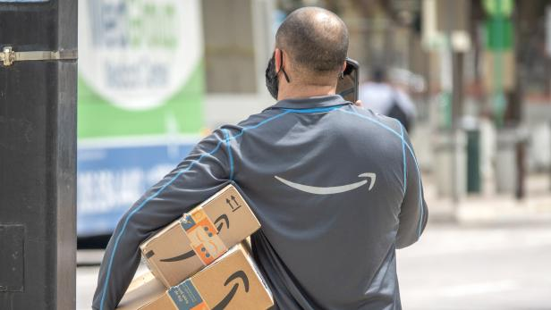Amazon workers in Downtown Miami