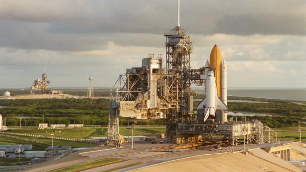 NASA's Space Shuttle Discovery waits on top of the Launch Pad 39A for its launch at the John F. Kennedy Space Center on Merritt Island Florida