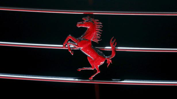 FILE PHOTO: Photo of a Ferrari logo seen on the grille of a Ferrari GTC4Lusso car at the 86th International Motor Show in Geneva