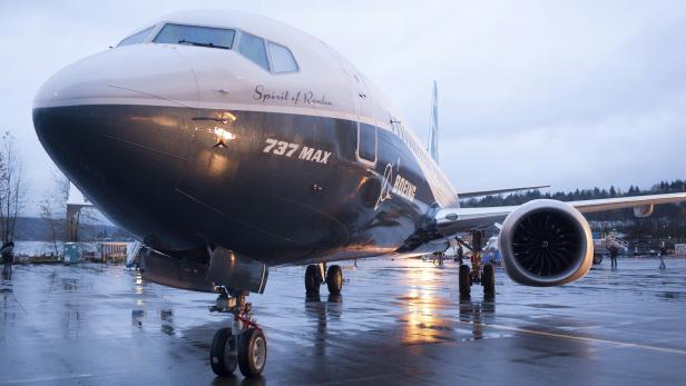 FILE PHOTO: A Boeing 737 MAX 8 sits outside the hangar during a media tour of the Boeing 737 MAX at the Boeing plant in Renton, Washington