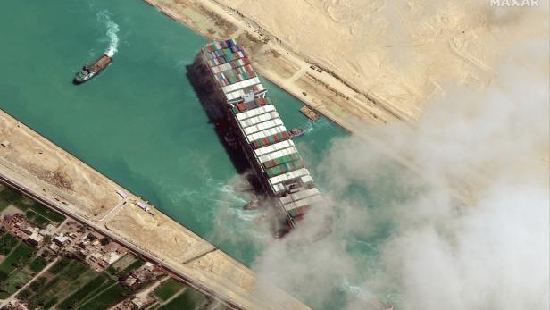 Ever Given container ship is free floating in the Suez Canal