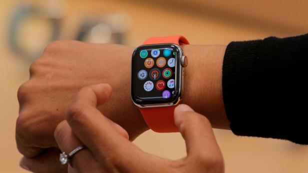 FILE PHOTO: An Apple Store employee shows the new Series 5 Apple Watch during the preview of the redesigned and reimagined Apple Fifth Avenue store in New York