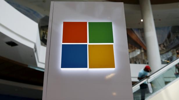 FILE PHOTO: A Microsoft logo is seen at a pop-up site for the new Windows 10 operating system at Roosevelt Field in Garden City