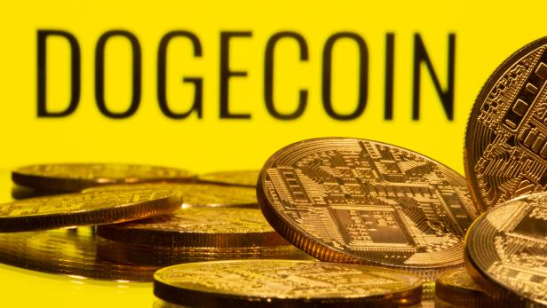 Cryptocurrency representations are seen in front of the Dogecoin logo in this illustration
