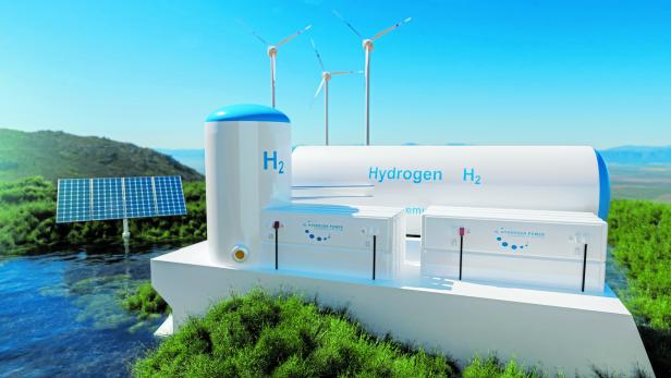 Hydrogen renewable energy production - hydrogen gas for clean electricity solar and windturbine facility