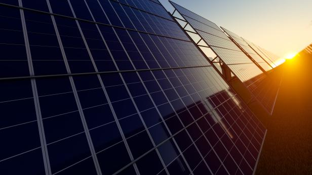 Surface of the Solar Panel in Fading Sunlight