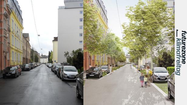 Die Kroatengasse in Linz ohne und mit Bäumen