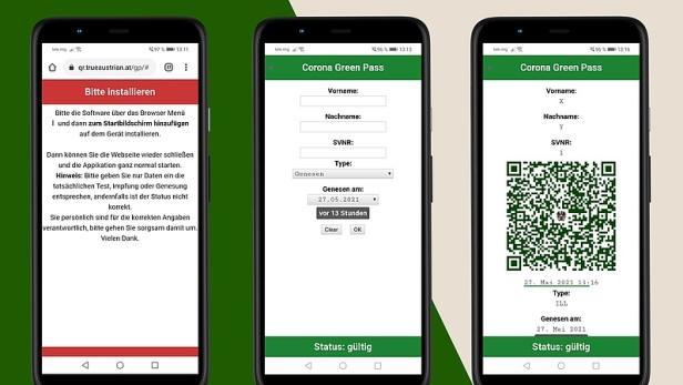 Screenshots der App Corona Green Pass Austria
