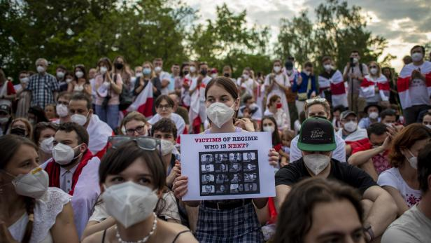 Demonstration in Prague to support oppressed people in Belarus