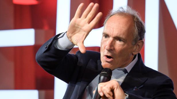 World Wide Web inventor Berners-Lee delivers a speech during an event marking 30 years of World Wide Web at the CERN in Meyrin