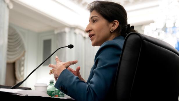 FILE PHOTO: Lina Khan testifies before a U.S. Senate committee in Washington