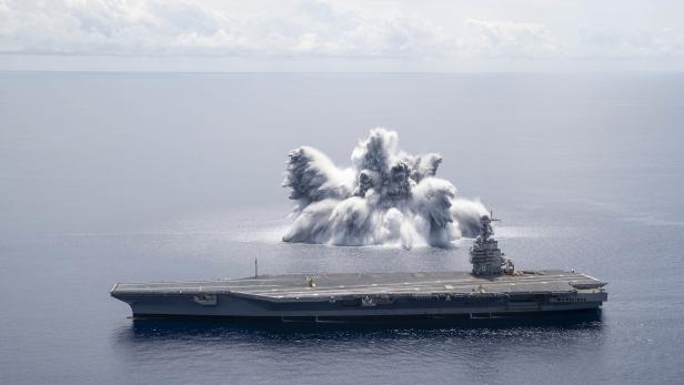 US Navy conducts Full Ship Shock Trial of the USS Gerald R Ford