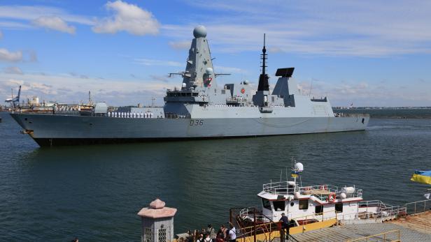 British Royal Navy's Type 45 destroyer HMS Defender arrives at the Black Sea port of Odessa