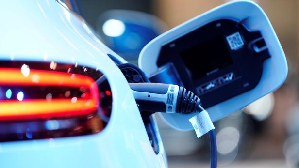 A charging port is seen on a Mercedes Benz EQC 400 4Matic electric vehicle at the Canadian International AutoShow in Toronto
