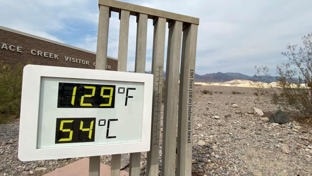 FILE PHOTO: Thermometer shows high temperatures in Death Valley