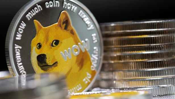 Representations of the virtual currency Dogecoin are seen in this illustration taken