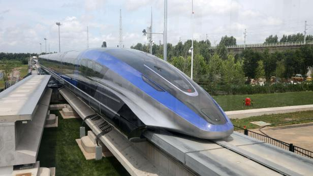 High-speed maglev train is pictured in Qingdao