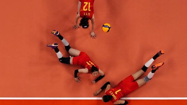Volleyball-Spiel China gegen die Türkei
