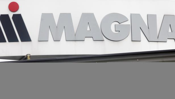 FILE PHOTO: Magna Steyr company logo is pictured at their factory site in Graz